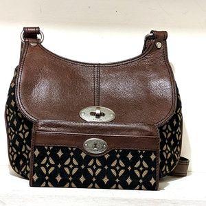 Vtg Fossil Saddle Geometric & Leather Bag/Wallet